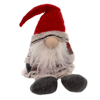 Christmas RED PLAID GNOME DOOR STOP Plaid Santa Hat Weighted Bottom Dst74735 A