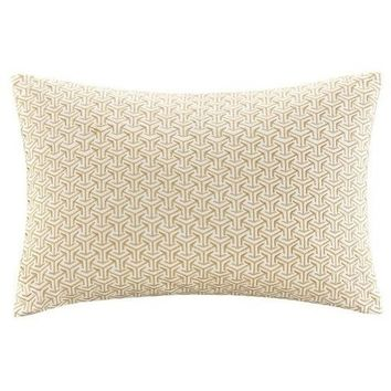 Cape Embroidered Yellow Lumbar Pillow