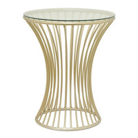 Mesmerizing Metal Accent Table - Glass Top