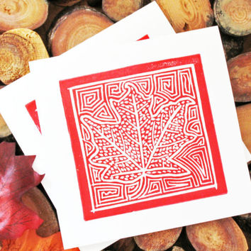 Autumn Leaf Cards Block Printed in Red Ink, Set of 2 Cards, Hand-printed, Thanksgiving, Fall, Holiday