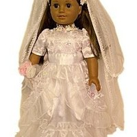 "Wedding Communion Dress:Gown, Veil, Shoes,Bouquet Fits 18"" American Girl® Doll Clothes & Accessories"