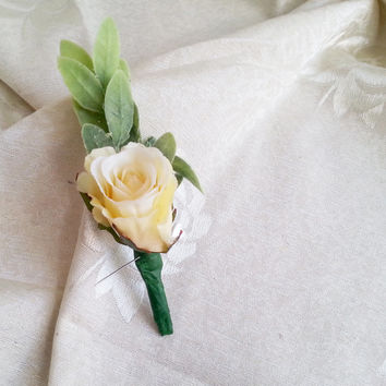 Creme rose flower olive leafs Groom and groomsmen boutonniere, Wedding Flowers custom corsage