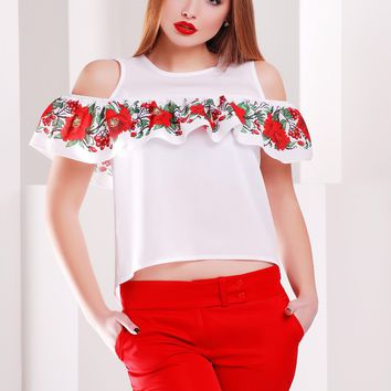 "Women's volant blouse ""Guelder Rose"""
