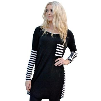 Camisetas Mujer 2016 Fashion Women Patchwork Striped Pocket Autumn Long Sleeve T-Shirt Tops For Women Casual Tee Shirt Femme #WY