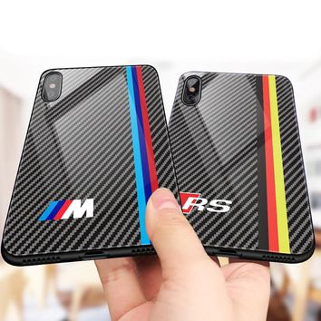 Luxury Motorsport AMG Carbon Fiber Phone Case For iphone X 6 S 6S 7 8 RACING SPORT RS Tempered Glass Racing Car BMW Cover Coque