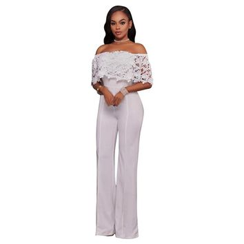 White 2017 Summer Fashion Rompers Womens Jumpsuits Long Strapless Casual Jumpsuits Lace Black Overalls Yellow Paysuits