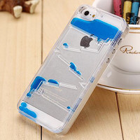 New Type Free shipping Transparent Clear Ladder Water Dynamic Liquid Quicksand Phone Back Cover Phone Case For Iphone 5C YC726