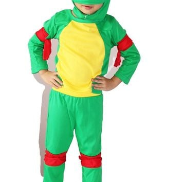 Green 3-7 years Cosplay Party boy roll play clothing kid Ninja turtle /Leonardo Da Vinci Halloween Costume Size: 5#-13#