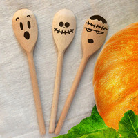 Spooky Spoons Set of 3 Wood Burned spoons Halloween Wooden Spoons Halloween Decor Wooden Kitchen Spoon Pumpkin Ghost Frankenstein Pyrography