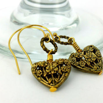 Antique Earrings - Floral Heart Charm - Antique Gold Heart - Heart Earrings - Valentines Earrings - Filigree Heart Charm - Vintage Earring -