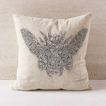 Embroidered Beetle Pillow - Urban Outfitters