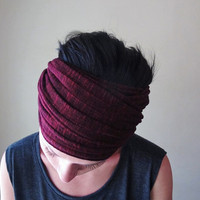 Mulberry Head Scarf - Ribbed Sweater Knit Headband, Hair Wrap - Cabernet Womens Hair Accessory