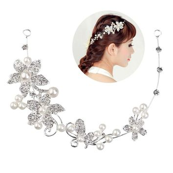 Fashion Delicate Women's Wedding Bridal Crystal Rhinestones Flower & Faux Pearls Hair Band