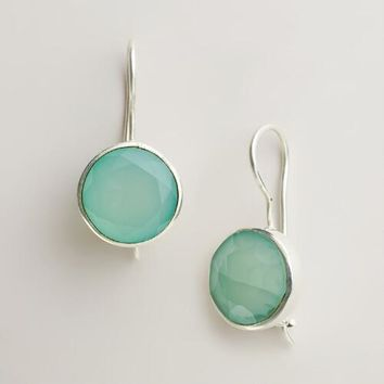 Aqua and Silver Round Drop Earrings - World Market