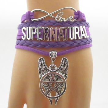 supernatural bracelets infinity  bracelet purple leather hanging pentagram and wing charm