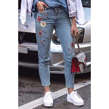Flower Embroidery Jeans Blue High Waist Casual Slim Denim Pants