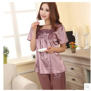 Women Pajamas Summer Thin Solid Ladies Pyjamas Collar Stitch Pajamas Women's Silk Sleepwear Lounge Pajama Sets Plus Size XXXL