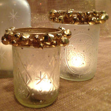 Frosted Jingle Bell Candle Holders/Mason Jar/Candle Holders/Holiday Candle Decor