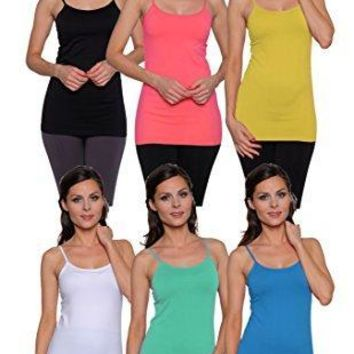 6 Pack Free to Live Women's Seamless Basic Layering Camis