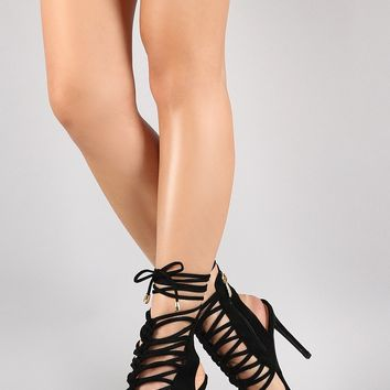 Strappy Knotted Center Vegan Suede Ankle Lace Up Stiletto Heel