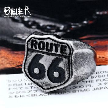 Beier 316L Stainless Steel Antique silve Fashion Male's  Biker ring Route 66 for men  High Quality fashion  ring  jewelry LR489