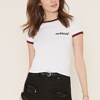Mermaid Graphic Ringer Tee | Forever 21 - 2000152666