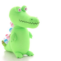 Stuffed Crocodile, Stuffed Animal, Handmade, sock doll stuffed animal, Bright Green, from Enchanted Forest  Ready to Ship