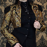 Toreador Jacket - STEAMPUNK BROWN/GREEN/GOLD TAPESTRY  by Shrine Clothing Gothic Dresses