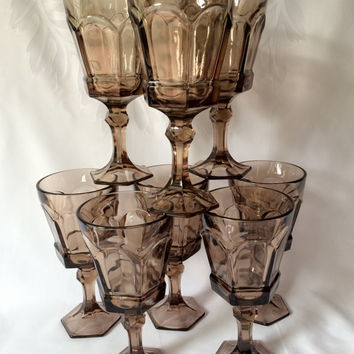 Fostoria Virginia, Smoke Brown Glasses, Water Goblet, Vintage Pedestal, Outstanding Quality, Large Wine Glass, Set of Eight, Holiday Glass,