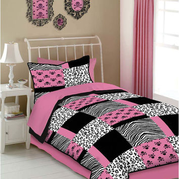 Veratex Indoor Bedroom Decorative Bedding Accessories Pink Skulls Comforter Set Full Pink