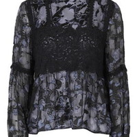 Burnout Lace Blouse - Navy Blue
