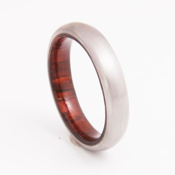 Wood wedding band wooded ring cocobolo ring with titanium band