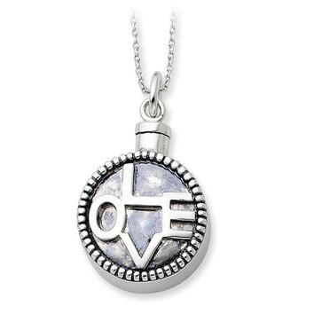 Rhodium Plated Sterling Silver LOVE Ash Holder Necklace, 18 Inch