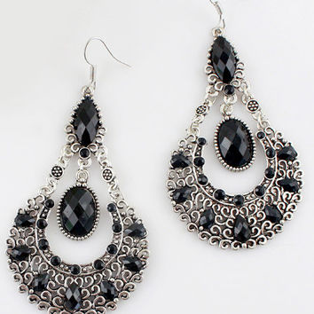 Black Gemstone Retro Silver Hollow Dangle Gauges Plugs Earrings