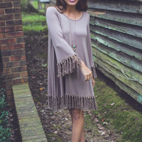 Southern Ties Dress in Taupe