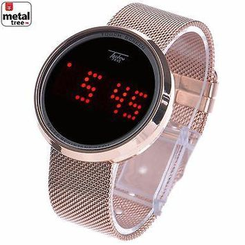 Jewelry Kay style Men's Techno Pave Digital LED Touch Screen Mesh Metal Band Watch WM 8245 RG