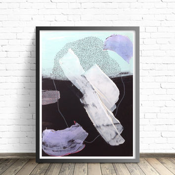 Abstract Art Print 8x10 12x18 pastel blue nursery wall art Wild Thing