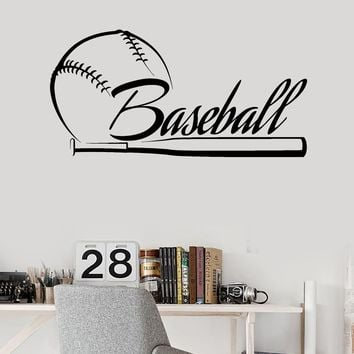 Vinyl Wall Decal Baseball Bat Word Sports Fan Stickers Mural Unique Gift (ig4168)