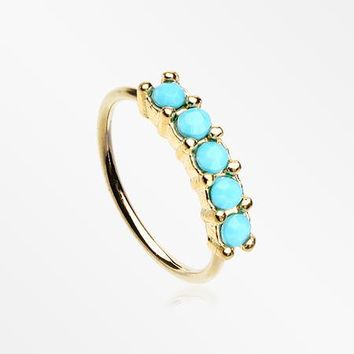 Golden Turquoise Multi Beads Princess Prong Bendable Hoop Ring