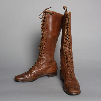 Best Brown Leather Lace Up Knee High Boots Products on Wanelo