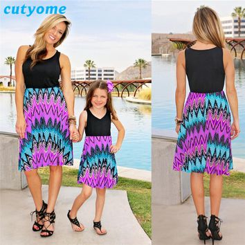 Family Matching Clothes Mom and Daughter Patchwork Dresses Cutyome Sleeveless Vintage Mother & Kids Child Me Family Look Outfits