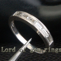 Milgrain Baguette .55ctw VS Diamonds 14K White Gold Wedding Band Engagement Ring