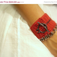 ON SALE 50% off - Crochet Cuff Bracelet, Handmade, Red, Pewter Toggle Clasp, Chain