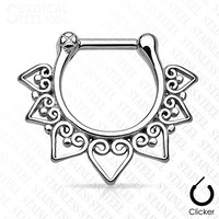 1 - Tribal Fan with Clear Gems Ion 316L Surgical Steel Septum Clicker F90 (Steel)