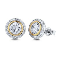 925 Sterling Silver Round Cubic Zirconia Solitaire Earrings 2.46 ct.tw #e677-1