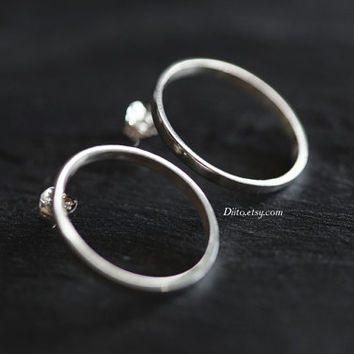 Sterling Silver Hoop Stud Earrings, Circle Earrings, Geometric Earrings, Sterling Silver jewelry, Simple Earrings, Ready to Ship!
