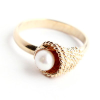 Vintage Faux Pearl Gold Tone Ring -  Retro Signed Sarah Cov 1970s Adjustable Costume Jewelry / Cultured Treasure Cornucopia