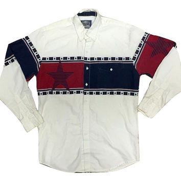 Vintage Men tshirt button up Navajo Western Clothing long sleeve american Flag Tee
