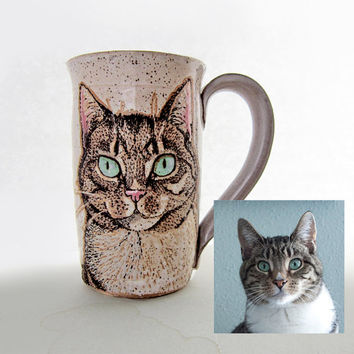 Custom Cat portrait pottery mug, cat memorial, ceramic cat mug, birthday gift, animal art, animal mug, dishwasher safe, microwave safe.