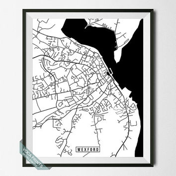 Wexford Print, Ireland Poster, Wexford Poster, Wexford Map, Ireland Print, Street Map, Ireland Map, Wall Decor, Wall Art